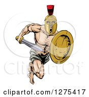 Clipart Of A Muscular Gladiator Man In A Helmet Running With A Sword And Shield Royalty Free Vector Illustration by AtStockIllustration