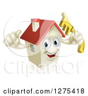 Clipart Of A Happy House Character Holding A Thumb Up And A Key Royalty Free Vector Illustration