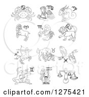 Clipart Of Black And White Outlined Astrology Zodiac Animals And Symbols Royalty Free Vector Illustration by AtStockIllustration