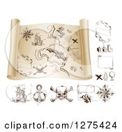 Clipart Of A Pirate Treasure Map Scroll And Design Elements 2 Royalty Free Vector Illustration by AtStockIllustration