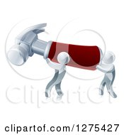 Clipart Of Two 3d Silver Men Carrying A Giant Hammer Royalty Free Vector Illustration