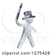 Clipart Of A 3d Silver Man Magician Holding Up A Wand And Wearing A Top Hat Royalty Free Vector Illustration by AtStockIllustration