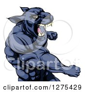 Clipart Of A Mad Muscular Black Panther Man Mascot Punching Royalty Free Vector Illustration