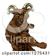 Clipart Of A Muscular Angry Ram Man Punching Royalty Free Vector Illustration by AtStockIllustration