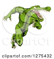 Clipart Of A Muscular Crocodile Or Alligator Man Sprinting Upright Royalty Free Vector Illustration