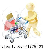 Clipart Of A 3d Gold Man Pushing A Shopping Cart Packed With Tools Royalty Free Vector Illustration