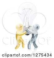 Clipart Of A 3d Team Of Gold And Silver Men Carrying A Light Bulb Royalty Free Vector Illustration
