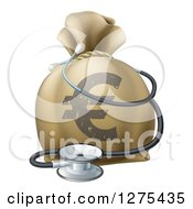 Clipart Of A 3d Euro Currency Symbol Money Bag And Stethoscope Royalty Free Vector Illustration by AtStockIllustration