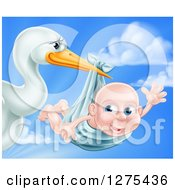Stork Bird Holding A Baby Boy In A Bundle Against A Cloudy Blue Sky