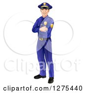 Full Length Happy Caucasian Male Police Officer Standing With Folded Arms