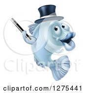 Clipart Of A Blue Magician Fish Holding A Wand And Wearing A Hat Royalty Free Vector Illustration