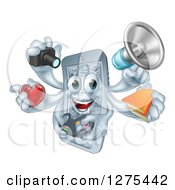 Clipart Of A 3d Happy Smart Phone Character Multitasking With A Megaphone Books Gamer Controller Heart And Camera Royalty Free Vector Illustration