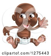 Clipart Of A Happy Black Baby Boy In A Diaper Sitting And Waving Royalty Free Vector Illustration by AtStockIllustration