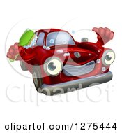 Clipart Of A Red Car Character Holding A Thumb Up And A Scrub Brush Royalty Free Vector Illustration
