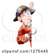Clipart Of A Happy Young Male Pirate Captain Pointing With A Hook Hand Around A Sign Royalty Free Vector Illustration