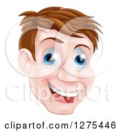 Clipart Of A Happy Blue Eyed Brunette Caucasian Mans Face Royalty Free Vector Illustration