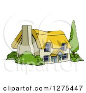 Clipart Of A Cute Thatched Roof Cottage Farm House Royalty Free Vector Illustration