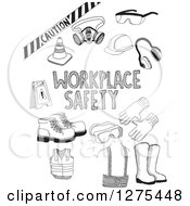 Clipart Of Black Sketched Workplace Safety Items Royalty Free Vector Illustration by David Rey