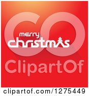 Clipart Of A White Merry Christmas Greeting On Gradient Red Royalty Free Vector Illustration by cidepix