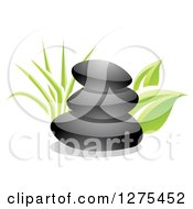 Clipart Of A 3d Stack Of Black Spa Stones With Green Grass And Leaves Royalty Free Vector Illustration