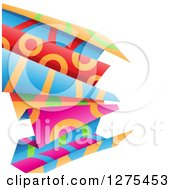 Clipart Of Colorful And Patterned Folded Paper On White Royalty Free Vector Illustration