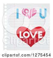 Heart And Love Designs On Ruled Paper