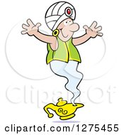 Clipart Of A Happy Male Genie Emerging From A Lamp With His Arms Open Royalty Free Vector Illustration by Johnny Sajem