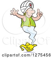Clipart Of A Happy Male Genie Emerging From A Lamp Holding A Finger Up For One Wish Royalty Free Vector Illustration