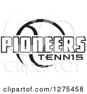 Clipart Of A Black And White Ball And Pioneers Tennis Text Royalty Free Vector Illustration by Johnny Sajem