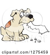 Clipart Of A Dog Eating Homework Royalty Free Vector Illustration by Johnny Sajem