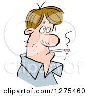 Clipart Of A Brunette White Guy Smoking A Cigarette Royalty Free Vector Illustration by Johnny Sajem