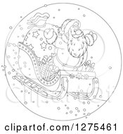 Clipart Of A Black And White Santa Claus Flying Down A Hillside On A Sleigh Royalty Free Vector Illustration