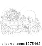 Clipart Of A Black And White Santa Claus Driving A Truck Full Of Christmas Gifts And Toys Royalty Free Vector Illustration