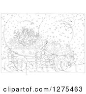 Clipart Of A Black And White Santa Claus Driving A Truck Full Of Christmas Gifts And Toys Through The Snow On Christmas Eve Night Royalty Free Vector Illustration