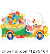 Clipart Of Santa Claus Driving A Truck Full Of Christmas Gifts And Toys Royalty Free Vector Illustration