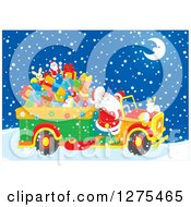 Clipart Of Santa Claus Driving A Truck Full Of Christmas Gifts And Toys Through The Snow On Christmas Eve Night Royalty Free Vector Illustration