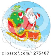 Clipart Of Santa Flying Down A Hillside On A Sleigh Royalty Free Vector Illustration by Alex Bannykh