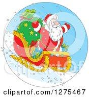 Santa Flying Down A Hillside On A Sleigh