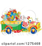 Clipart Of Santa Driving A Truck Full Of Christmas Gifts And Toys Royalty Free Vector Illustration