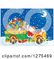 Clipart Of Santa Driving A Truck Full Of Christmas Gifts And Toys Through The Snow On Christmas Eve Night Royalty Free Vector Illustration