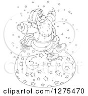Clipart Of A Black And White Cheerful Santa Claus Sitting On A Giant Christmas Sack In The Snow Royalty Free Vector Illustration