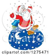 Clipart Of A Cheerful Santa Sitting On A Giant Christmas Sack In The Snow Royalty Free Vector Illustration