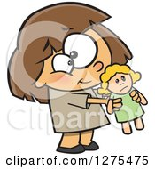Cartoon Clipart Of A Sweet Caucasian Girl Holding Out Her Doll Royalty Free Vector Illustration
