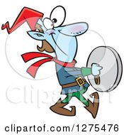 Cartoon Clipart Of A Happy Christmas Elf Marching And Playing The Cymbals Royalty Free Vector Illustration by toonaday