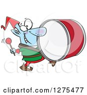 Cartoon Clipart Of A Happy Christmas Elf Marching And Playing The Drums Royalty Free Vector Illustration