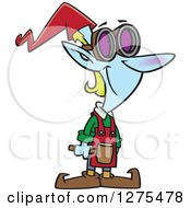 Cartoon Clipart Of A Happy Christmas Elf Worker With A Hammer And Goggles Royalty Free Vector Illustration