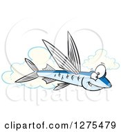 Cartoon Clipart Of A Happy Flying Fish Over Clouds Royalty Free Vector Illustration by toonaday