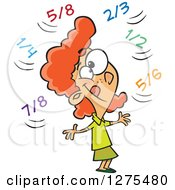 Cartoon Clipart Of A Happy Caucasian School Girl Doing Fractions In Her Head Royalty Free Vector Illustration