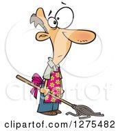 Caucasian House Husband Mopping