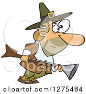 Cartoon Clipart Of A Caucasian Thanksgiving Pilgrim Man Turkey Hunting With A Blunderbuss Royalty Free Vector Illustration
